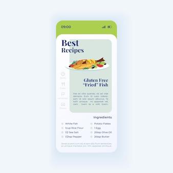 Шаблон вектора интерфейса смартфона рыбное блюдо. макет светового дизайна страницы мобильного приложения. лучший рецепт. экран жареных морепродуктов без глютена. плоский интерфейс для приложения. приготовление еды. дисплей телефона