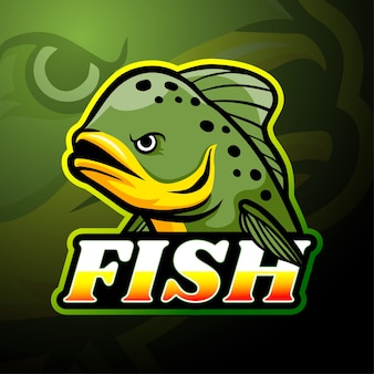 魚のeスポーツロゴのマスコットデザイン