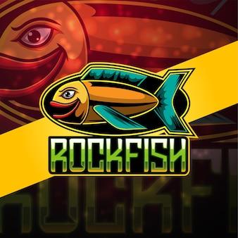 魚のeスポーツマスコットのロゴデザイン