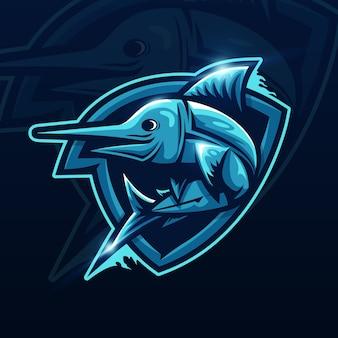 魚のeスポーツマスコットロゴデザイン