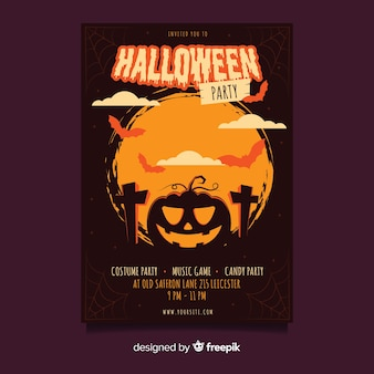 Fish eye shot of curved pumpkin halloween party poster