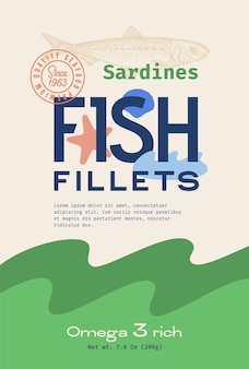 Fish fillets abstract vector packaging design or label modern typography hand drawn sardine silhouet...