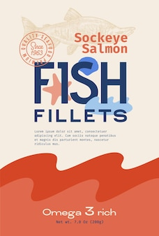 Fish fillets abstract vector packaging design or label modern typography hand drawn sockeye salmon s...