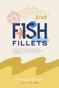魚の切り身抽象的なベクトルパッケージデザインまたはラベル現代のタイポグラフィ手描き大西洋スカッドsi ..