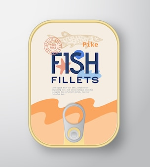 Fish fillets aluminium container with label cover.