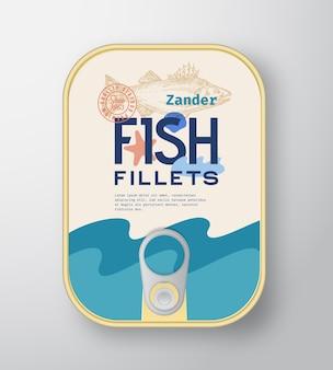 ラベルカバー付きの魚の切り身アルミニウム容器。
