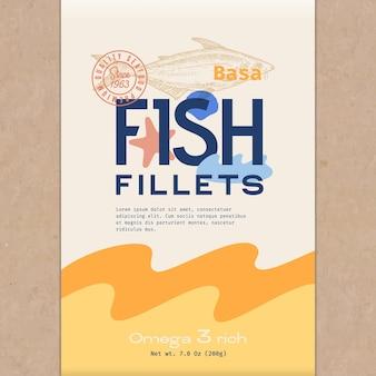 魚の切り身。魚の包装テンプレート