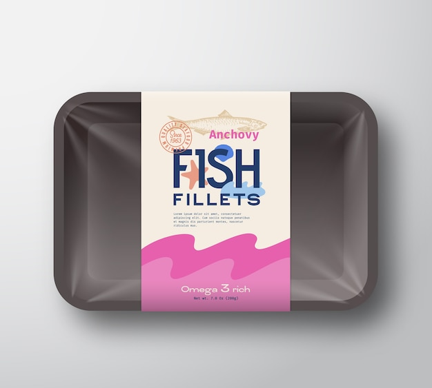 Fish fillets pack. abstract  fish plastic tray container with cellophane cover. packaging  label.