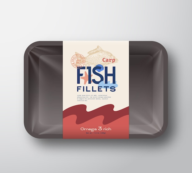 Fish fillets pack. abstract  fish plastic tray container with cellophane cover packaging  label.