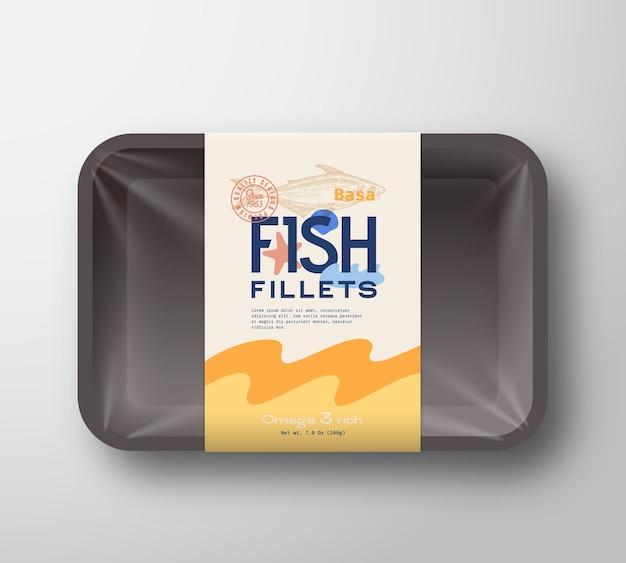 魚の切り身パック。魚のプラスチックトレイコンテナ包装モックアップ