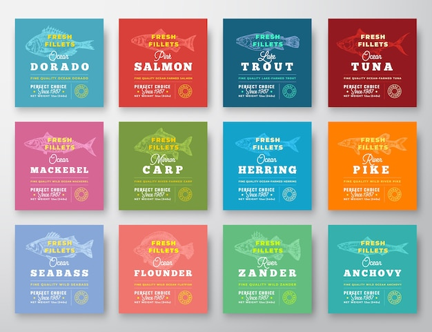Fish fillets premium quality twelve labels set.