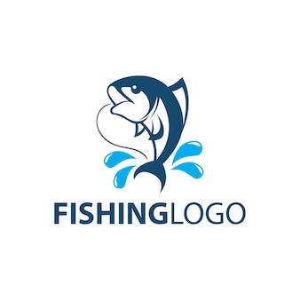Fish fishing logo template