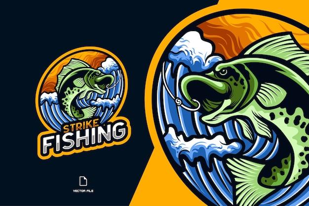 Иллюстрация логотипа киберспорта талисмана рыбной ловли для персонажа спортивной игры