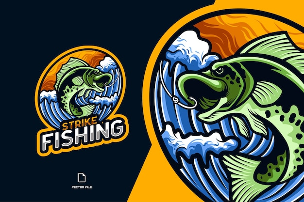 Fish fishing mascot esport logo illustration for sports game team character