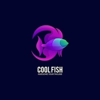 Современный шаблон логотипа рыбы градиент цвета