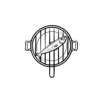 魚のグリル手描きのアウトライン落書きアイコン。印刷、ウェブ、モバイル、白い背景で隔離のインフォグラフィックのグリル鍋に魚のベクトルスケッチイラスト。