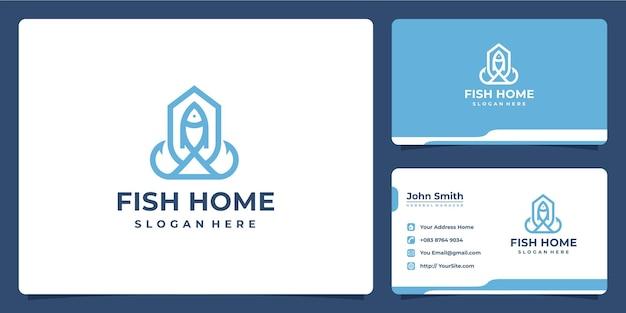 魚の家の組み合わせのロゴと名刺