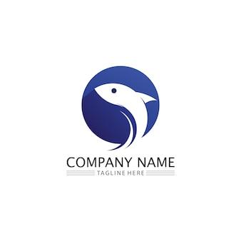 Значки рыб, показывающие хвосты и жабры логотипов водных и животных