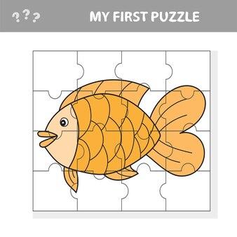 만화 스타일의 물고기, 미취학 아동 발달을 위한 교육 게임, 이미지의 일부 잘라내기 - 내 첫 번째 퍼즐