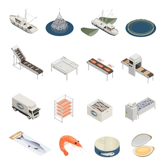 Fish industry icons collection