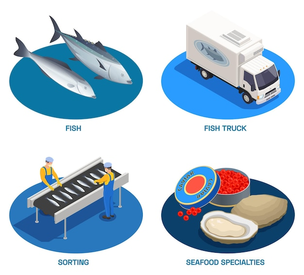 Fish industry seafood production isometric set of round compositions with fishes delivery truck and ready products