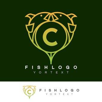 Fish initial letter c logo design