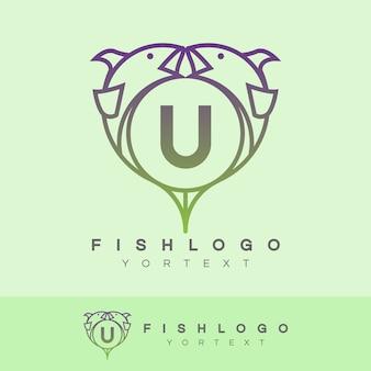 Fish initial letter u logo design