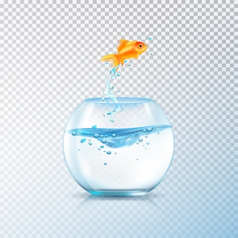 Рыба выпрыгивает из чаши композиции с реалистичным аквариумом и золотой карп на прозрачном фоне векторных иллюстраций