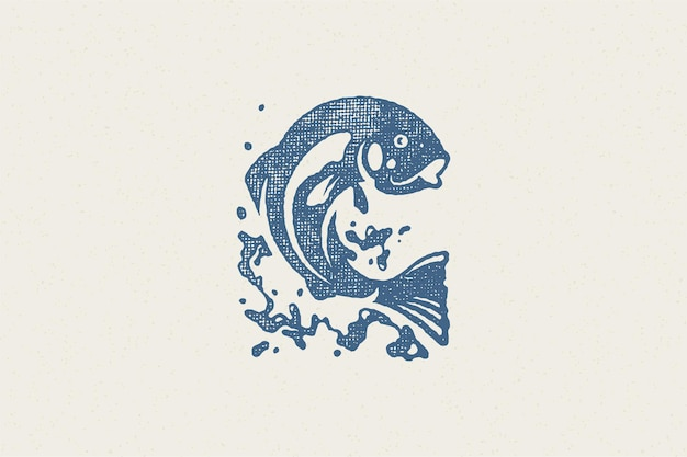 Fish jumping out from water silhouette for fishing club or seafood market hand drawn stamp effect