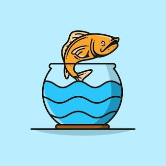 Рыба прыгает из аквариума вектор значок иллюстрации