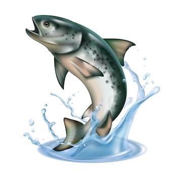 Pesce che salta fuori dall'acqua con spruzzi isolati su bianco