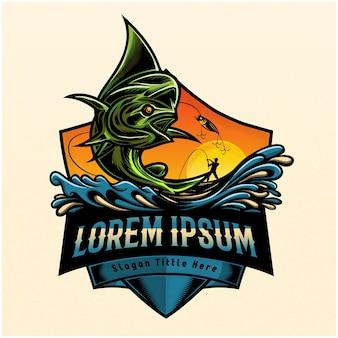 Рыба прыгает, чтобы поймать человека в парусной лодке, логотип рыбалки