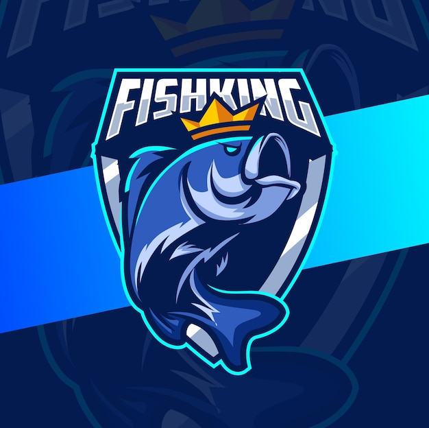 Рыба король рыбалка талисман киберспорт дизайн логотипа