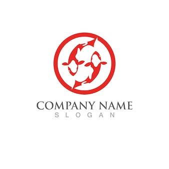 Шаблон логотипа рыбы кои. символ творческого вектора