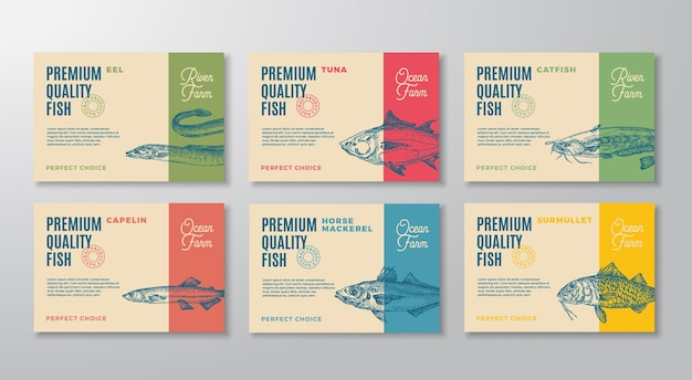 물고기 레이블 설정 추상적인 벡터 포장 디자인 레이아웃 컬렉션