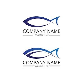Шаблон логотипа рыбы и водных животных символ творческий вектор