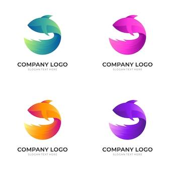 Логотип дизайн логотипа рыбы с 3d красочным стилем