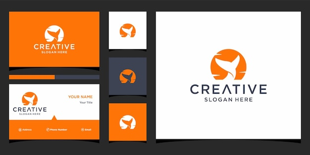Дизайн логотипа рыбы с бизнесом с шаблоном визитной карточки