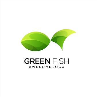 魚のロゴのグラデーションの緑色