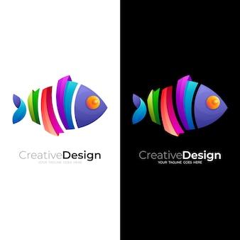Шаблон логотипа рыбы, логотип животного с простым