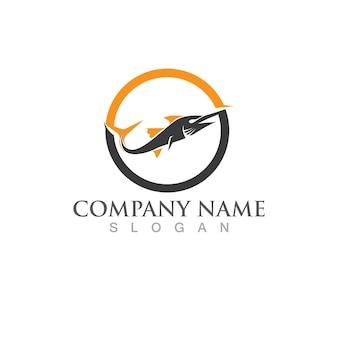 Шаблон логотипа рыбы. символ творческого вектора