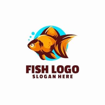 白で隔離の魚のロゴのテンプレート