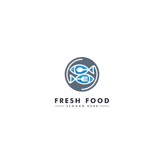 Fish logo template, seafood icon