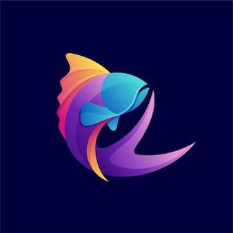 Логотип рыбы с концепцией цветового градиента