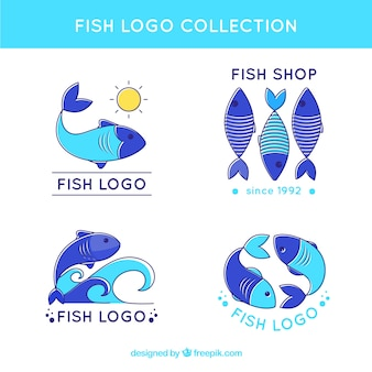 Fish logos collection in different blues Free Vector