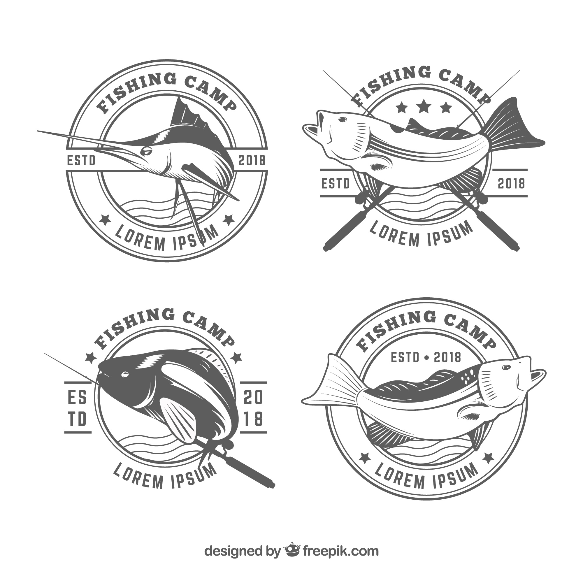 Fish logos collection in black and white