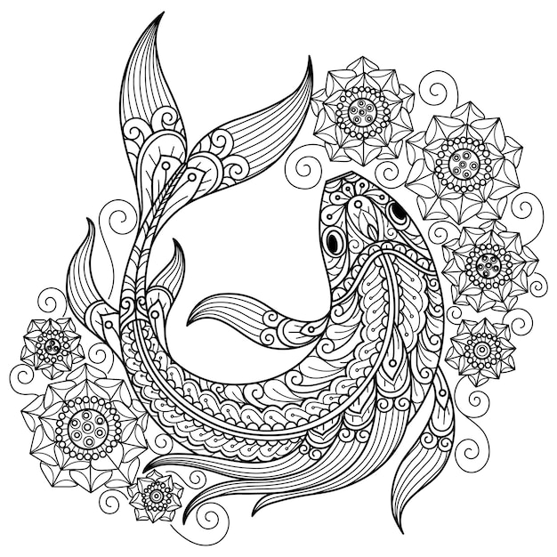 Fish and lotus hand drawn sketch illustration for adult coloring book