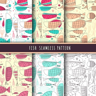 Fish and marine life pattern seamless line hand drawn packs.