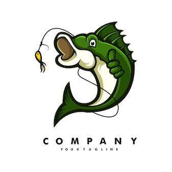 魚のマスコット漫画のロゴのキャラクターデザイン