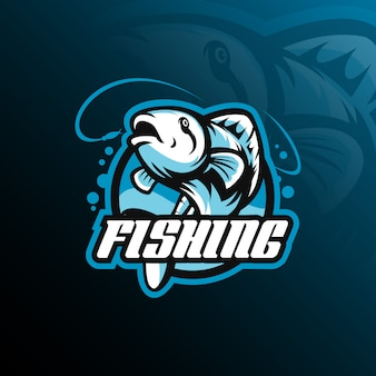 Fish mascot logo design vector with modern illustration